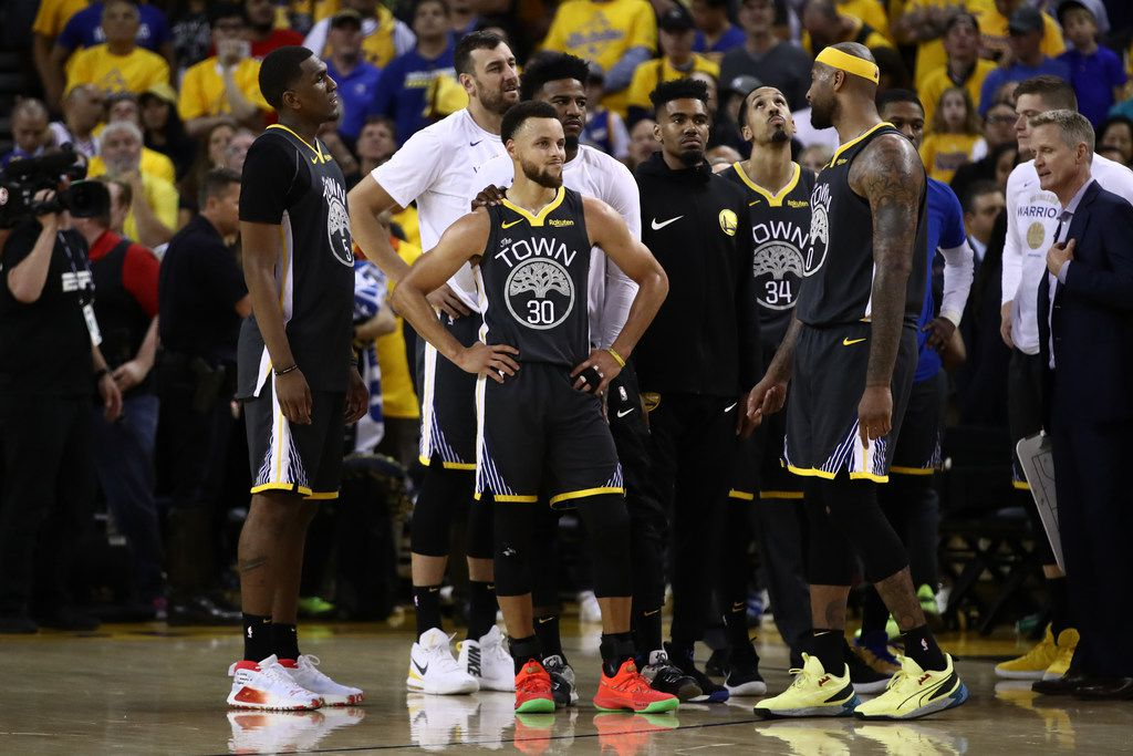 OAKLAND, CALIF. - JUNE 13:  Stephen Curry #30 of the Golden State Warriors reacts late in the game against the Toronto Raptors during Game 6 of the NBA finals at ORACLE Arena on June 13, 2019, in Oakland, Calif. (Photo by Ezra Shaw/Getty Images)