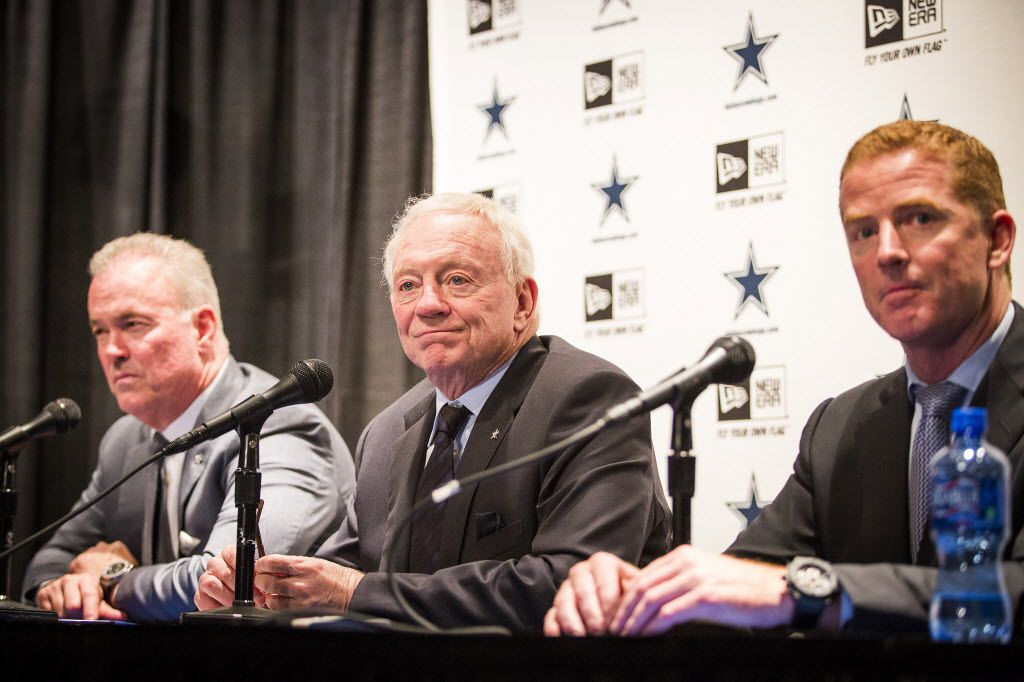 (from left) Dallas Cowboys executive vice president/COO Stephen Jones, owner Jerry Jones, and head coach Jason Garrett address the media to discuss their first round pick of UConn cornerback Byron Jones on the first day of the NFL Draft, Thursday, April 30, 2015, in Irving, Texas. (Smiley N. Pool/The Dallas Morning News) MANDATORY CREDIT, NO SALES, MAGS OUT, TV OUT, INTERNET USE BY AP MEMBERS ONLY