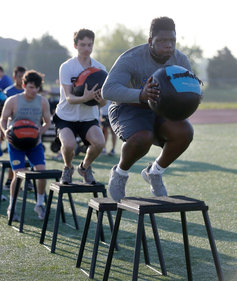 Sunnyvale's Marcus Alexander works out during the off season at Sunnyvale High School in Sunnyvale on Thursday, April 25, 2019. Alexander an offensive lineman is headed to Oklahoma University to play football next season. (Vernon Bryant/The Dallas Morning News)