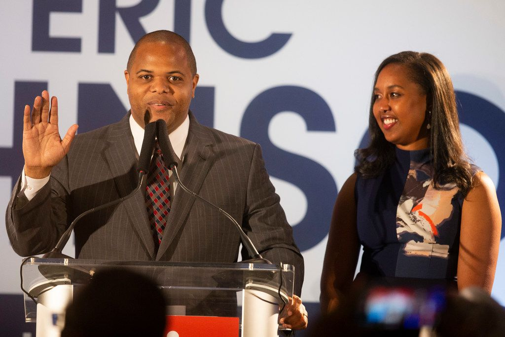 Eric Johnson gives remarks joined by his wife, Nikita Johnson, during his victory party in the race for Dallas mayor on June 8, 2019.