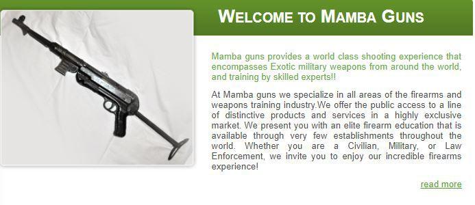 A screenshot from Mamba Guns website