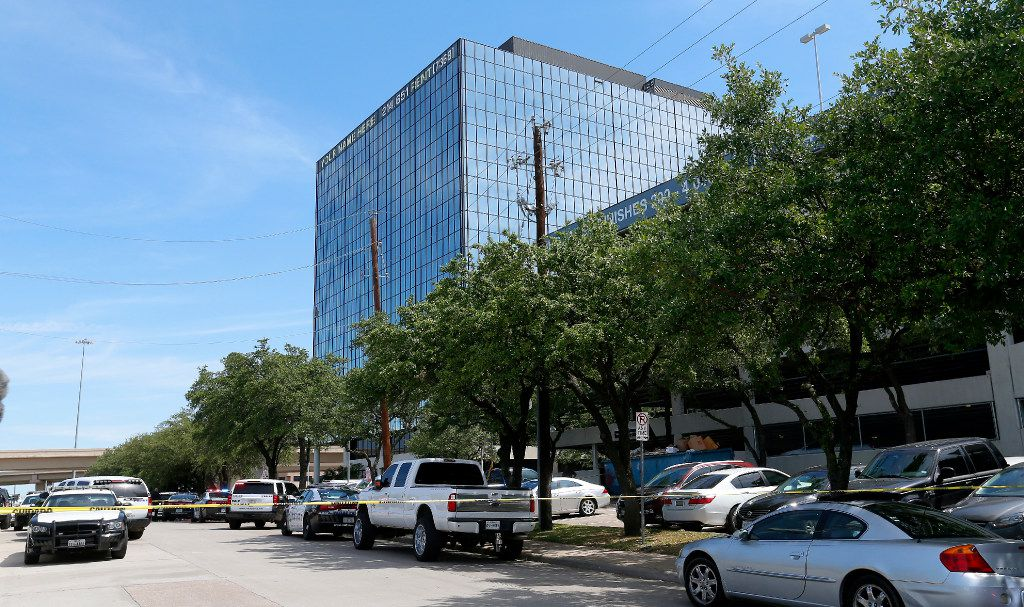 An office building in Lake Highlands near the High Five where police found two people dead at a shooting scene in Dallas, Monday, April 24, 2017. (Jae S. Lee/The Dallas Morning News)
