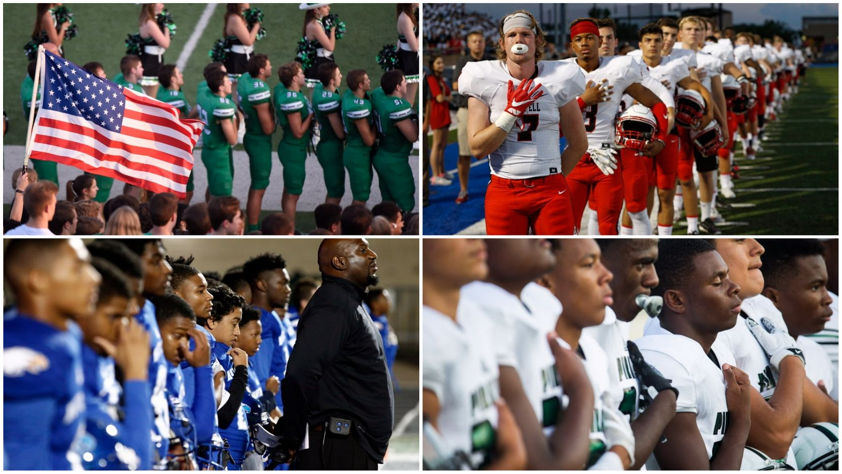 In these file photos, players and coaches from Dallas-area high schools stand during the national anthem. On Sunday Sept. 24, dozens of NFL players knelt or locked arms in unity during the national anthem to protest racial injustice.