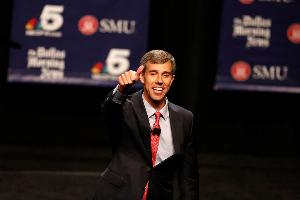 Rep. Beto O'Rourke gestures during a debate with Sen. Ted Cruz at Southern Methodist University's McFarlin Auditorium on Sept. 21.