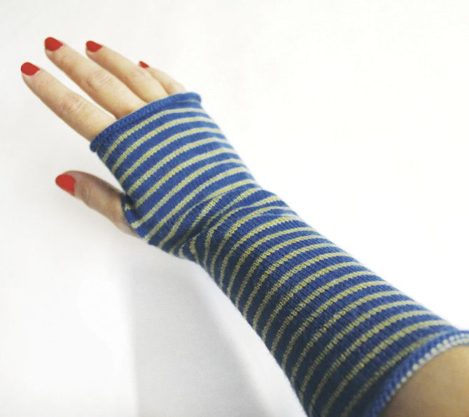 Merino jersey striped glovelettes by Eileen Fisher. $68 at eileenfisher.com.
