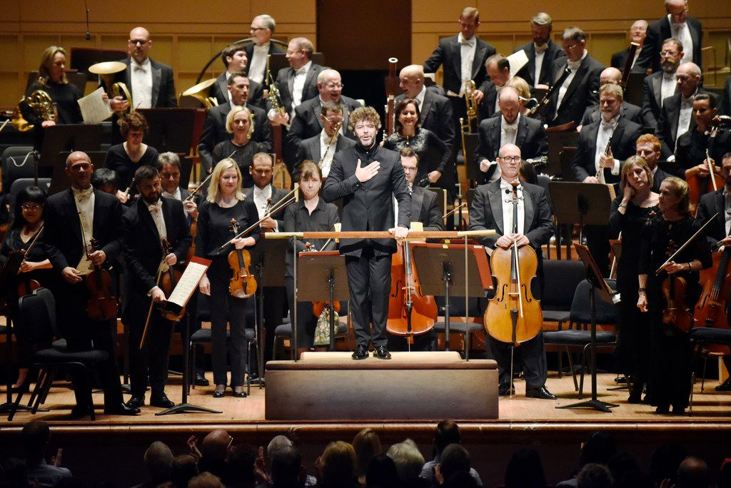 Guest conductor Pablo Heras-Casado is applauded after conducting the Dallas Symphony Orchestra during a performance of Debussy La Mer (The Sea), Thursday evening, Oct. 19, 2017 at the Meyerson Symphony Center in downtown Dallas. Ben Torres/Special Contributor