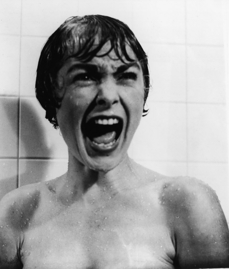 """Janet Leigh in the famous """"Psycho"""" shower scene."""