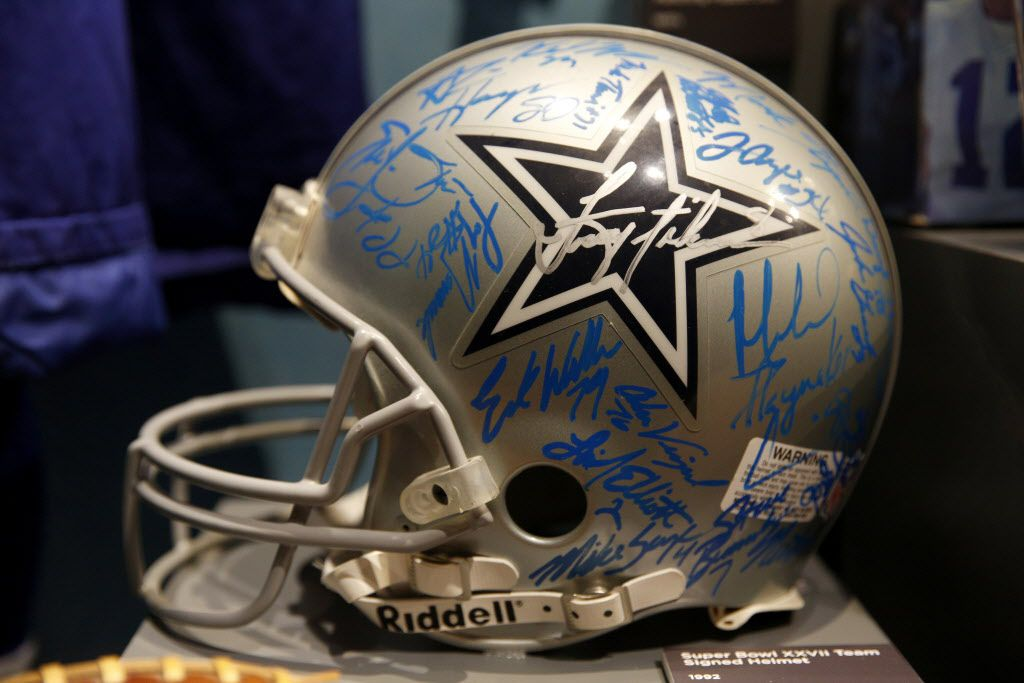 Dallas Cowboys helmet signed by the 1992 Super Bowl XXVII team, part of the Eye of the Collector exhibit at the Perot Museum of Nature and Science in Dallas on April 14, 2016.