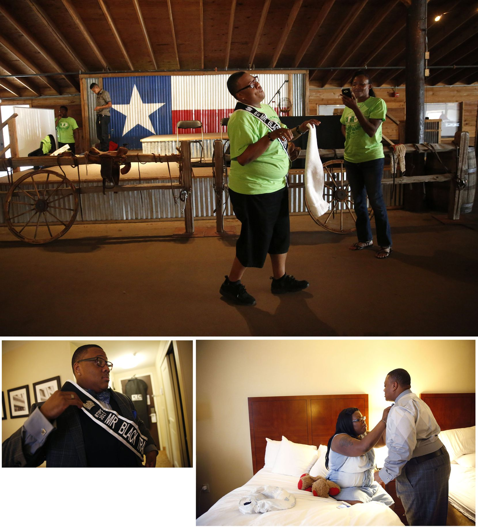 """(clockwise from top) Trenton dances by the stage during the Black Trans Advocacy Conference """"family day"""" at Circle R Ranch in Flower Mound on Saturday, April 29, 2017. The night before, he donned his sash and got help with his bowtie from his fiancee Bridget Charleston before the Black Trans Advocacy Conference gala."""