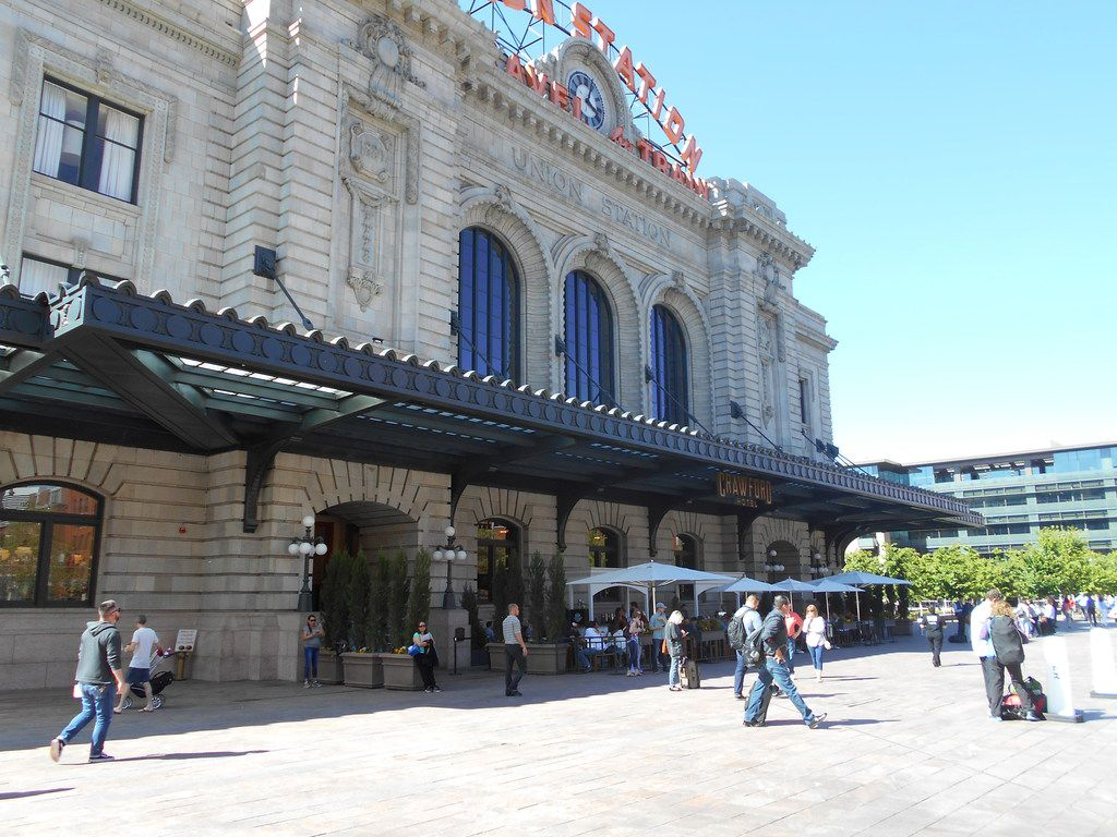 People  actually like to hang out in front of Denver's Union Station, which is near the downtown ballpark.