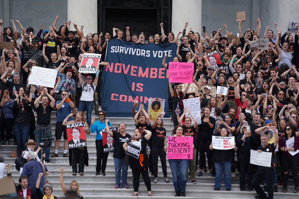 Protesters against U.S. Supreme Court nominee Brett Kavanaugh demonstrate at the U.S. Supreme Court in Washington, D.C., on Oct. 6, 2018.