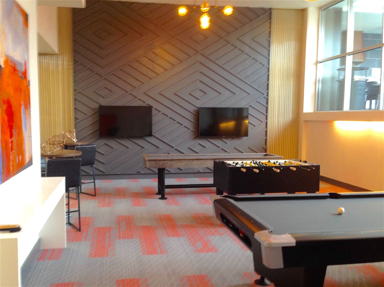 The new game room on the top floor of the Manor House apartments.