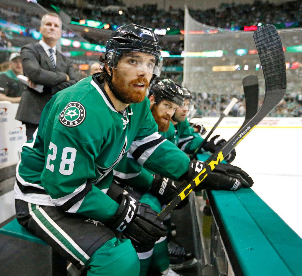 Dallas Stars defenseman Stephen Johns (28) is pictured on the bench during the Anaheim Ducks vs. the Dallas Stars NHL hockey game at the American Airlines Center on Thursday, October 13, 2016. (Louis DeLuca/The Dallas Morning News)