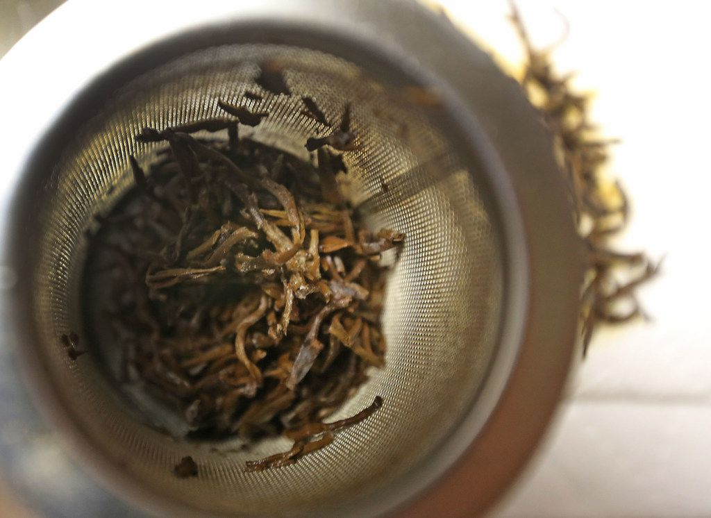 Himalayan Golden Tips tea leaves from Nepal, pictured after steeping at the Rakkasan Tea Company in Dallas.