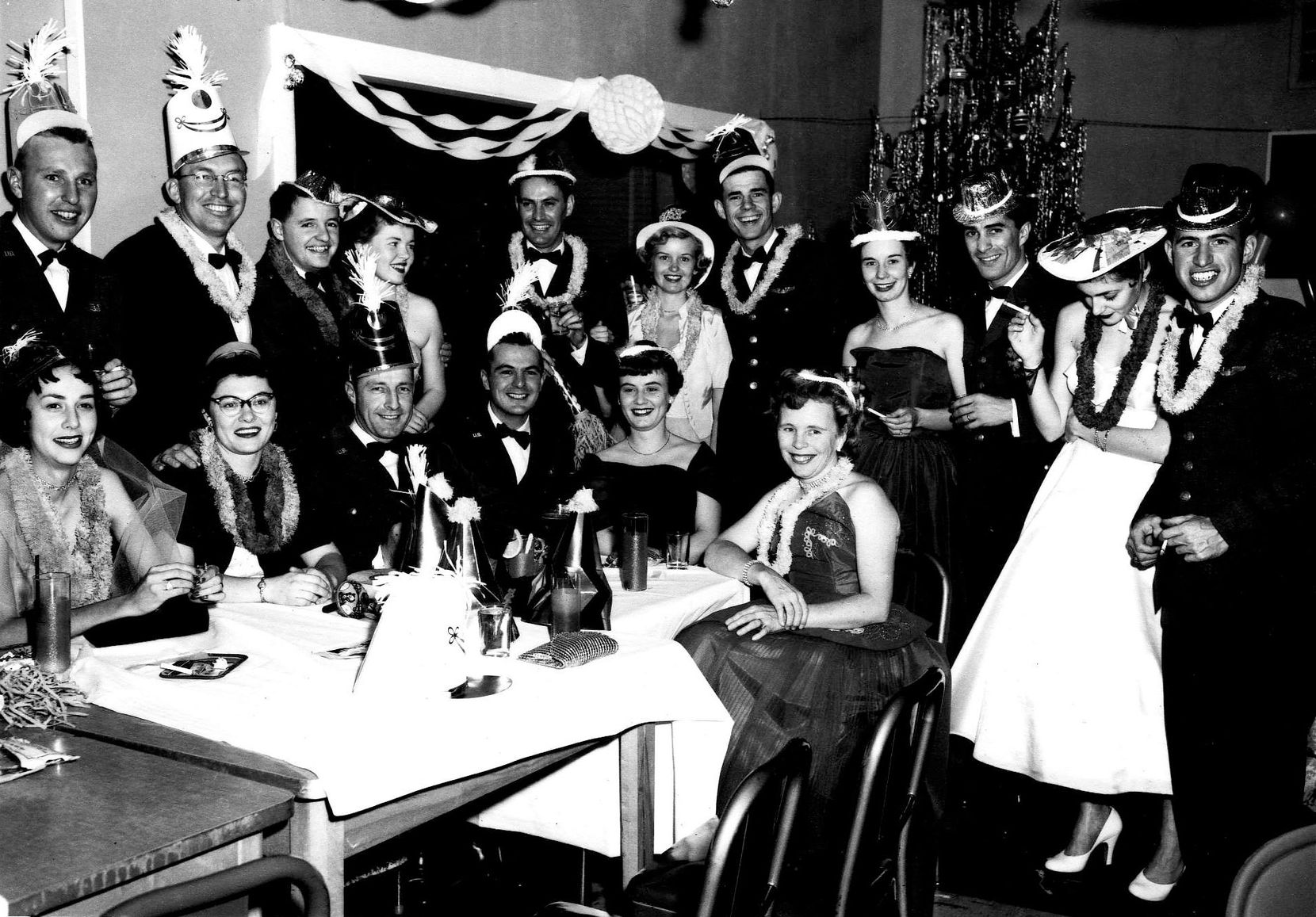 Larry and Jo Whitford (both far left) with other officers and their wives at a party in an undated photo. The Whitfords loved to throw parties and invite other families on the bases where Larry was stationed.
