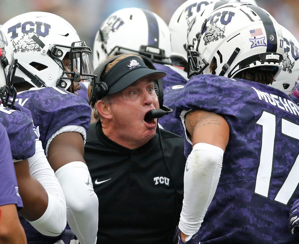 FILE - TCU head coach Gary Patterson fires up his troops on the sidelines in the second quarter during the Oklahoma Sooners vs. the TCU Horned Frogs NCAA football game at Amon G. Carter Stadium in Fort Worth, Texas on Saturday, October 20, 2018. (Louis DeLuca/The Dallas Morning News)