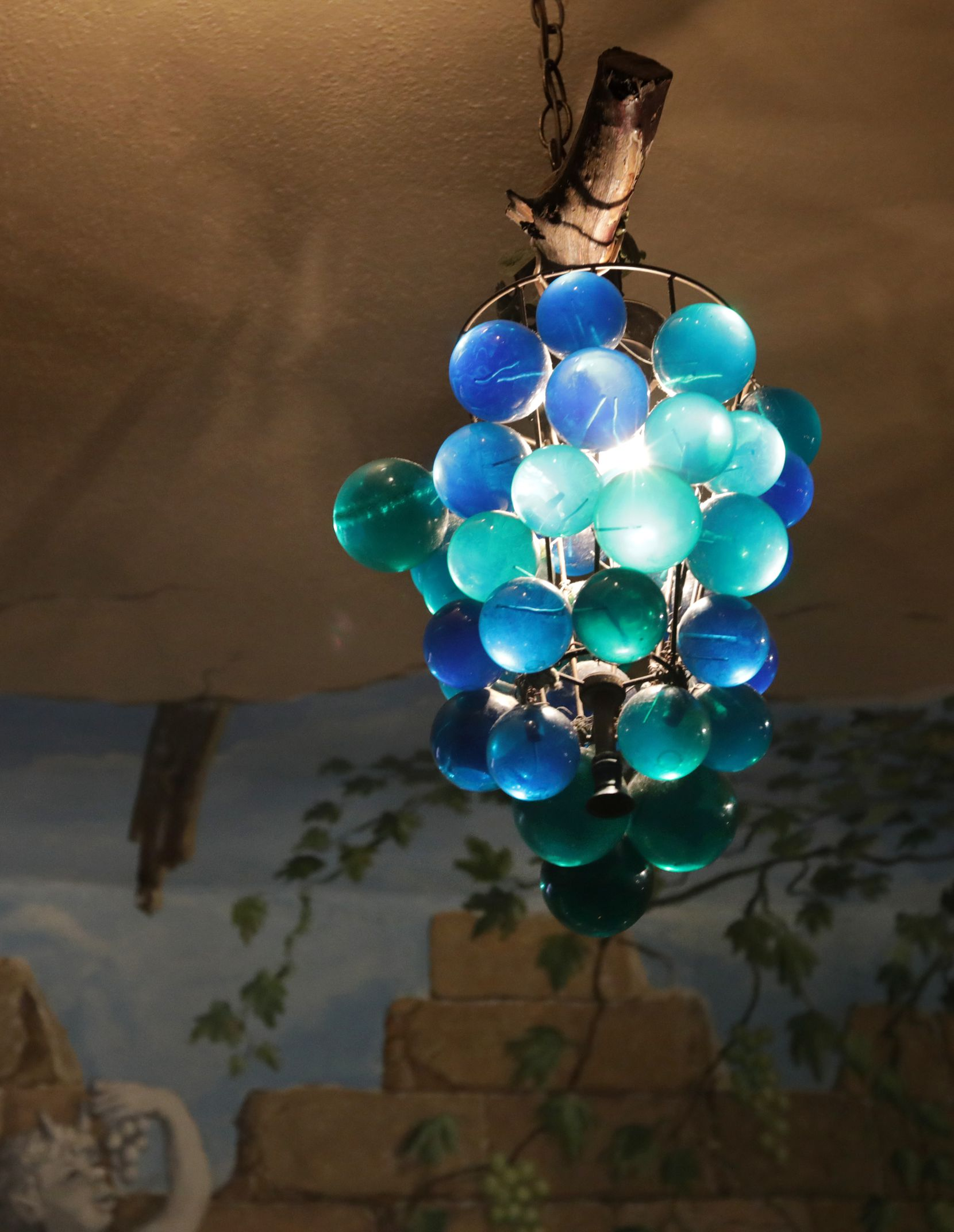 One of the original grape pendant lights. Not for sale.