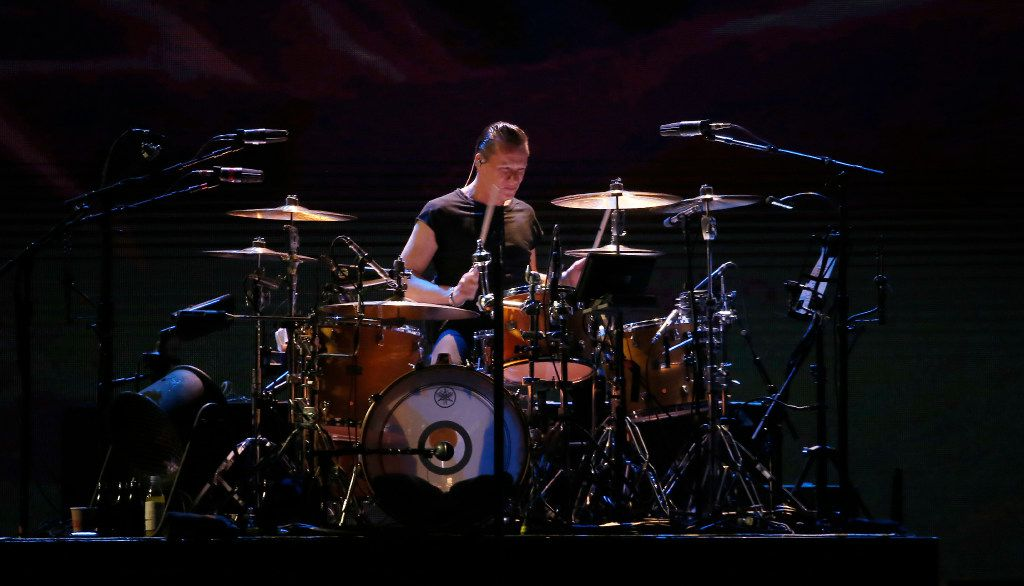 Larry Mullen Jr. of U2 performs on stage at AT&T Stadium in Arlington, Texas, Friday, May 26, 2017. (Jae S. Lee/The Dallas Morning News)