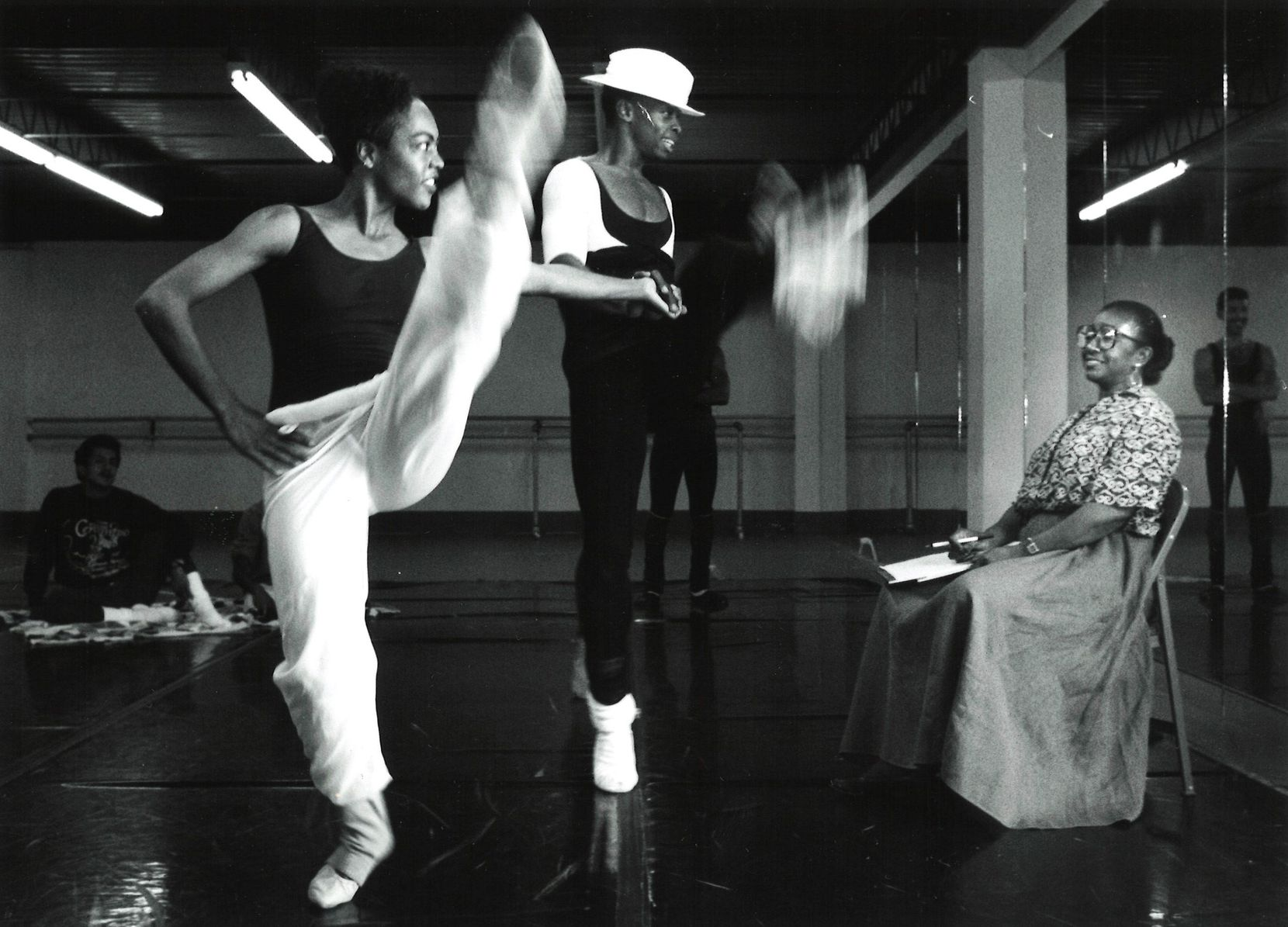 Ann Williams (far right) watches with pleasure as dancers for the Dallas Black Dance Theatre rehearse for Porgy and Bess in 1990.