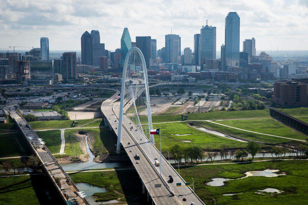 The Margaret Hunt Hill Bridge and downtown Dallas skyline