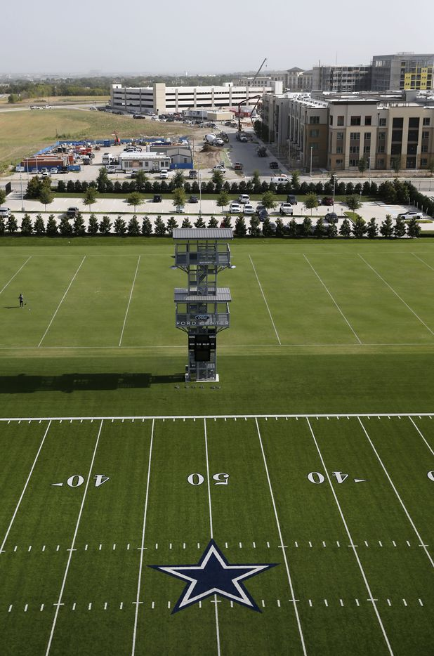 Two outdoor fields at the Dallas Cowboys headquarters, including an observation tower for watching and filming practices, at The Star in Frisco on July 17, 2018.