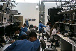 Engineers at the Intel campus in Guadalajara. (Meghan Dhaliwal/The Washington Post)