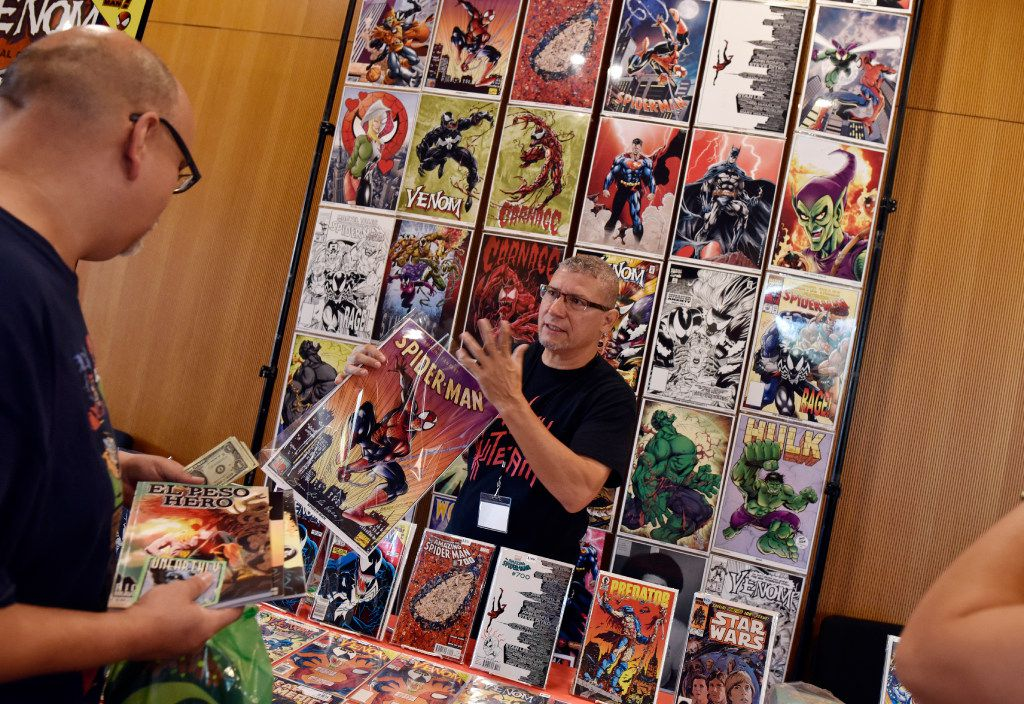 Marvel and DC artist Sam de la Rosa greeted comic book during the Texas Latino Comic Con. De la Rosa is known for drawing and inking the popular Marvel character Venom.
