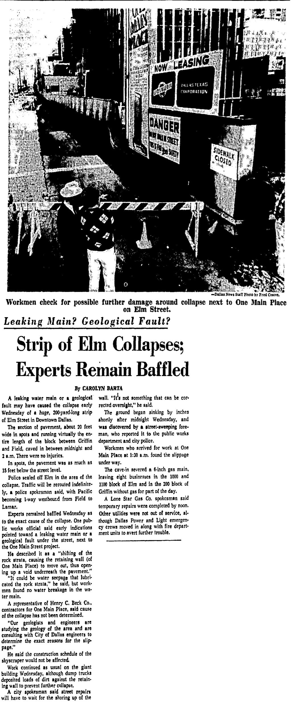 The great Elm Street cave-in of 1967 made headlines in Dallas.