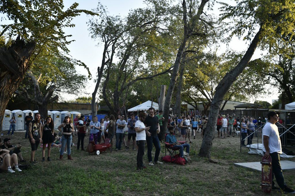 The crowd under the trees listening to Thundercat on the Travelstead Main Stage at Oaktopia Fest, Saturday, September 26, 2015, in Denton.