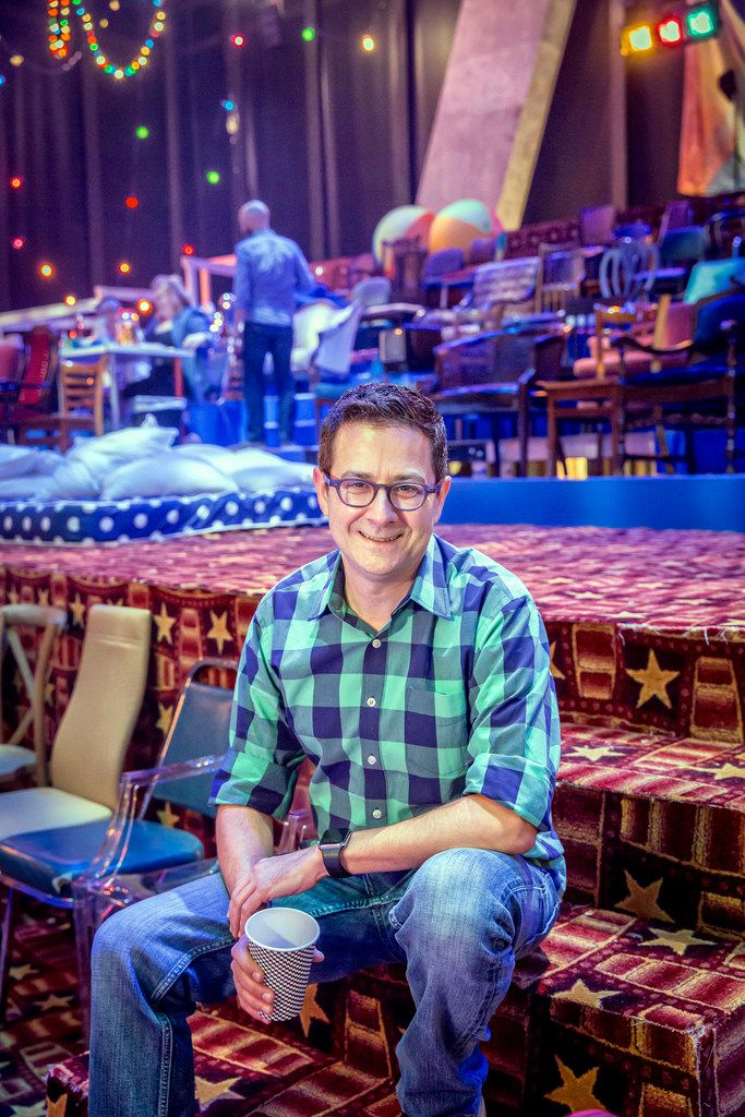 Kevin Moriarty on the set of Hair at the Wyly Theatre in Dallas