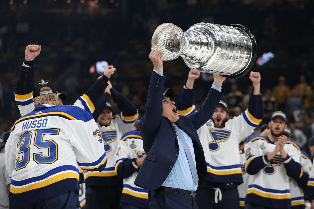 BOSTON, MASSACHUSETTS - JUNE 12:  Head coach Craig Berube of the St. Louis Blues celebrates with the Stanley cup after defeating the Boston Bruins in Game Seven of the 2019 NHL Stanley Cup Final at TD Garden on June 12, 2019 in Boston, Massachusetts. (Photo by Patrick Smith/Getty Images)