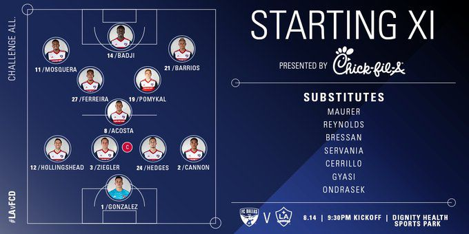 FC Dallas' starting XI at LA Galaxy. (8-14-19)