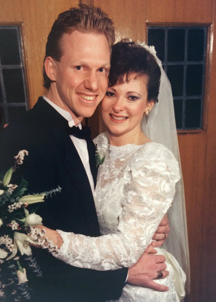 Dave and Patti Stevens, shown here at their wedding. Dave, 53, a marathoner, died in a random attack by a troubled former football player while he was running at White Rock Lake on Oct. 12, 2015. The couple was married for 25 years. (Family photo)