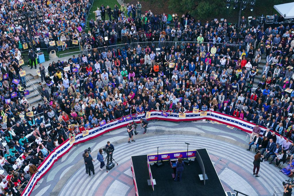 Some 20,000 people turned out as Sen. Kamala Harris, D-Calif., launched her presidential campaign on Jan. 27, 2019, in front of City Hall in her hometown of Oakland.