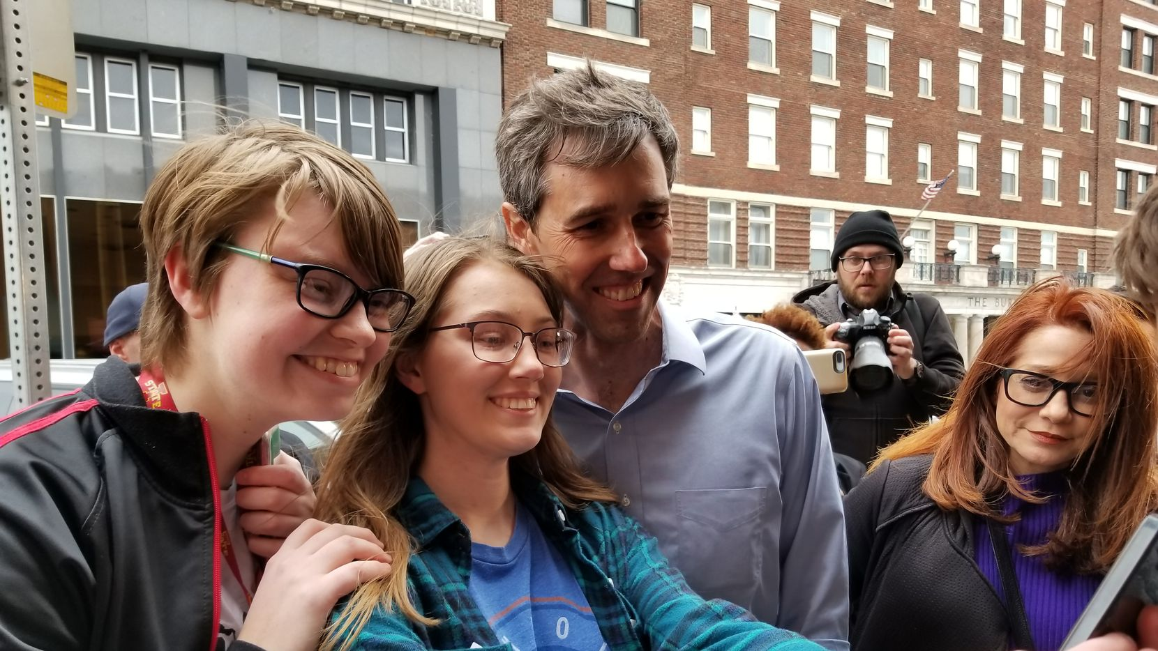 Beto O'Rourke stops for a photo after stumping in Burlington, Iowa. At right is aide Cynthia Cano.