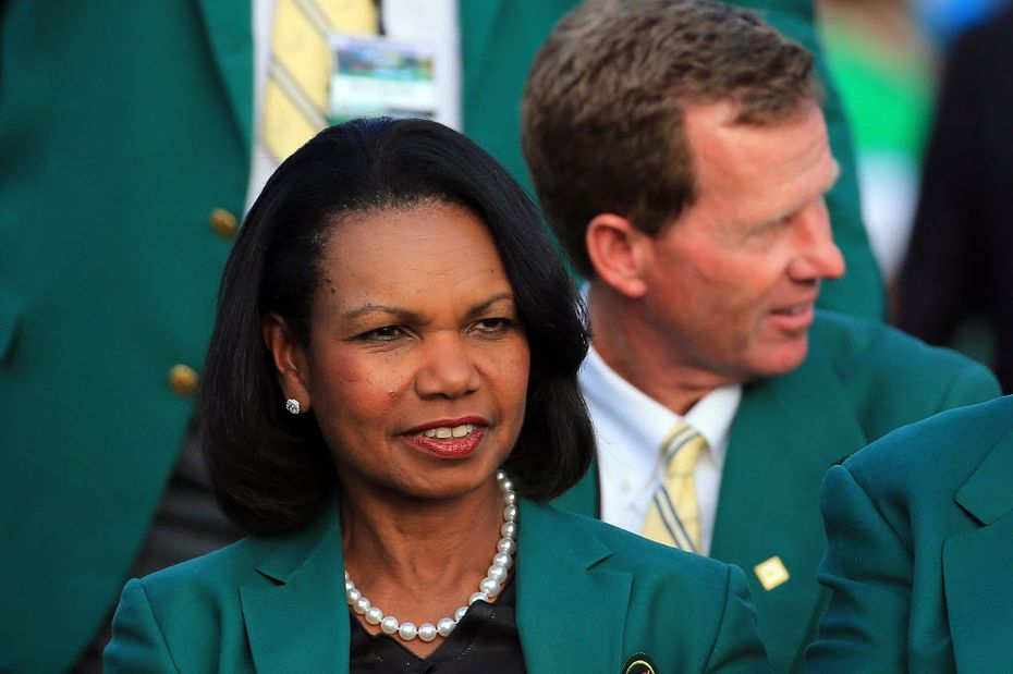 August National Golf Club member Condoleezza Rice looks on during the green jacket presentation at the 2014 Masters Tournament.  (David Cannon/Getty Images)