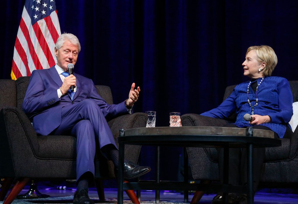 Former president Bill Clinton, left, and former Democratic presidential candidate Hillary Clinton appeared in a Q&A event at The Pavilion at Toyota Music Factory in Irving, Texas on Friday, Nov. 17, 2017. The event was called A Special Evening with President Bill Clinton & the Honorable Hillary Clinton.(Ron Baselice/The Dallas morning News)