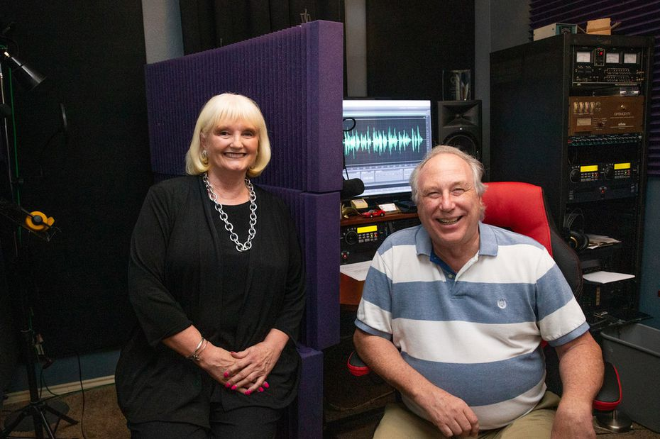 Connie Yates poses for a portrait with her radio producer, Dean Bailey.