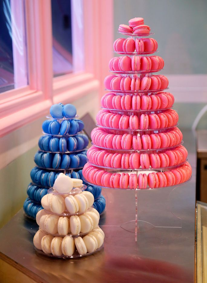 Multi-tiered displays of macarons are available for catering events at the JOY Macarons store in Shops at Clearfork development in Fort Worth.