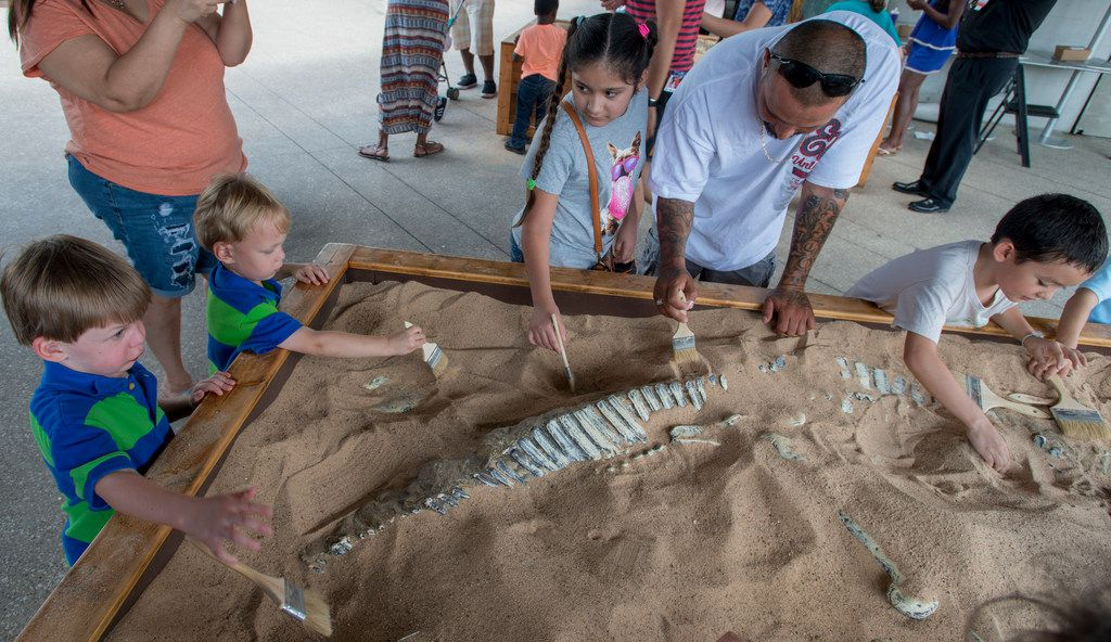 Visitors to the Perot Museum of Nature and Science uncover fossils in the dino dig pits during Dino Fest in 2018.