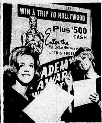 "Photo from the March 27, 1965 edition of The Dallas Morning News: ""Mary Wilson of Wichita Falls and Aline West of Dallas, a pair of SMU co-eds, get ready to mark their ballots in the Academy Award Sweepstakes contest"""
