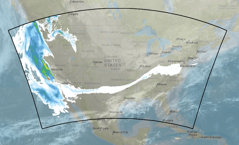 The HRRR smoke field model from the National Oceanic and Atmospheric Administration shows smoke from the California wildfires extending across the country.