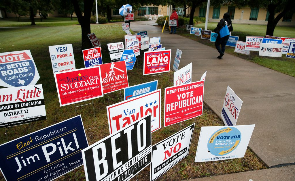 A voter made her way to a polling station at Collin College Preston Ridge Campus in Frisco on Thursday.