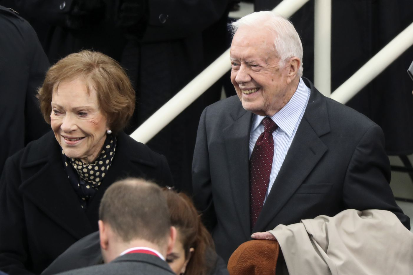 Former president Jimmy Carter and Rosalynn Carter arrive during the 58th Presidential Inauguration a