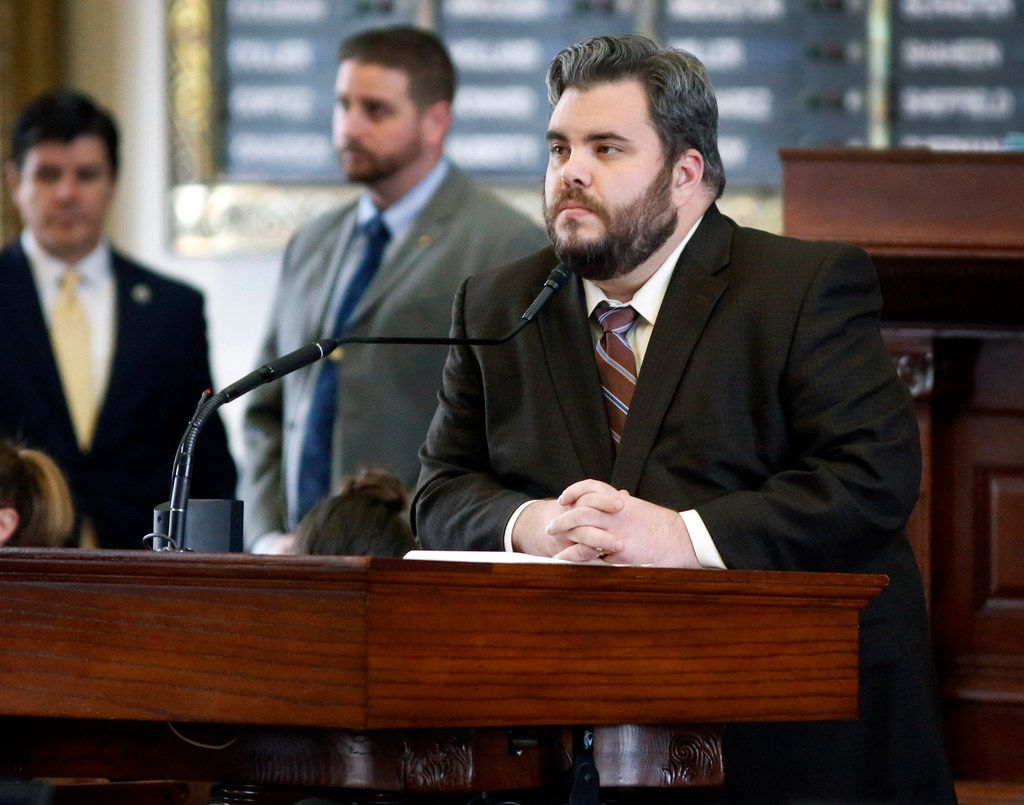 Rep. Jonathan Stickland, R-Bedford, listened to debate this week on a diesel emissions bill at the Texas Capitol. Stickland, a tea party libertarian, killed a bipartisan anti-tethering bill earlier this year that animal rights groups said would save dogs from cruelty at the hands of their owners.