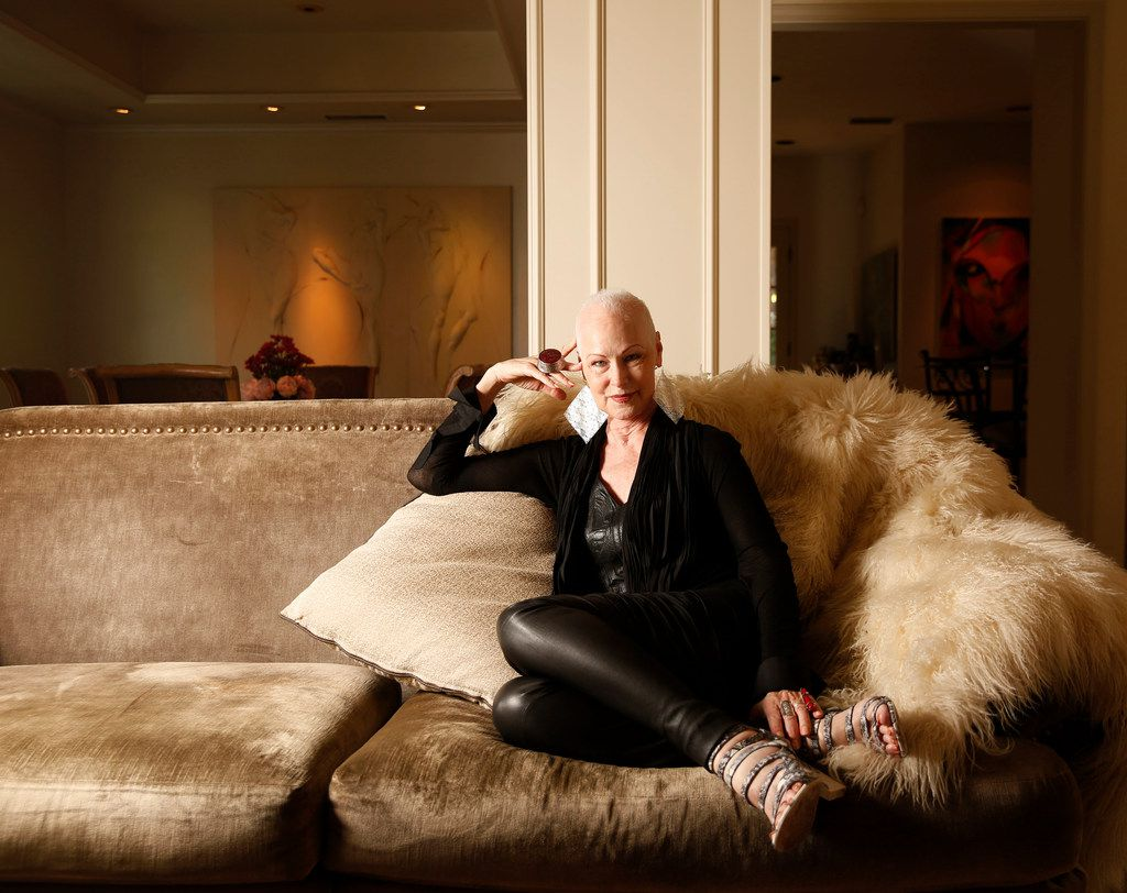 Jan Strimple, a high-fashion model in the '70s and '80s, poses for a photograph at her home in Irving, Texas, on June 13, 2018. Strimple lost her trademark red hair to chemo while facing breast cancer.
