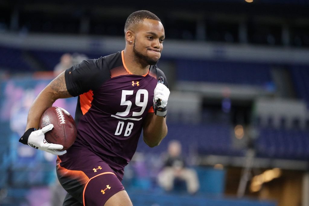 Virginia defensive back Juan Thornhill runs a drill at the NFL football scouting combine in Indianapolis, Monday, March 4, 2019. (AP Photo/Michael Conroy)  Published 4/20/19