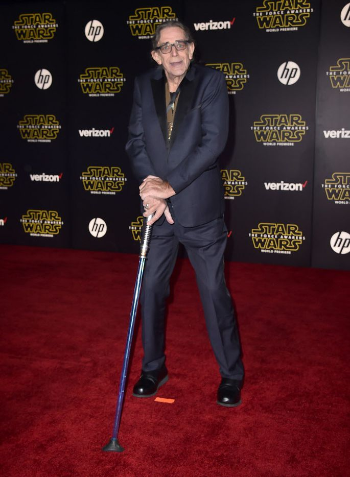 """Peter Mayhew arrives at the world premiere of """"Star Wars: The Force Awakens"""" at the TCL Chinese Theatre on Monday, Dec. 14, 2015, in Los Angeles. Mayhew plays the role of Chewbacca in the Star War films."""