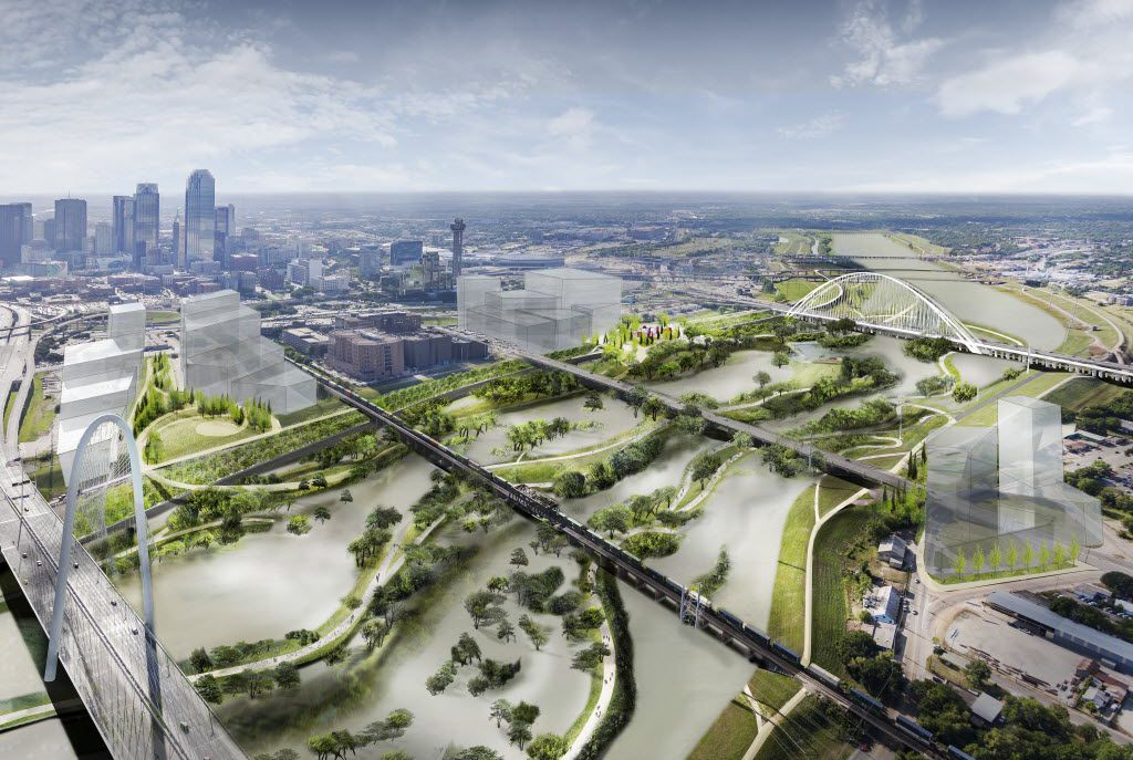 A digital, conceptual, rendering of the Trinity River Plan introduced May 20, 2016. This view shows a two-to-three year flood event.