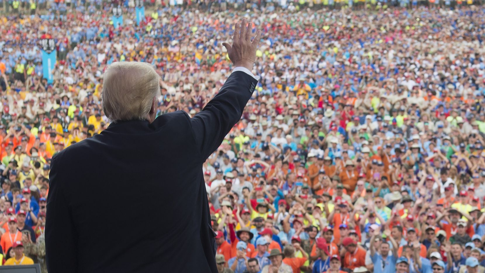 US President Donald Trump waves after speaking to Boy Scouts during the National Boy Scout Jamboree at Summit Bechtel National Scout Reserve in Glen Jean, West Virginia, July 24, 2017.
